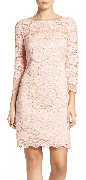 Vince Camuto petite   lace sheath dress in blush - Sheer shoulders and sleeves elevate the romance of this...