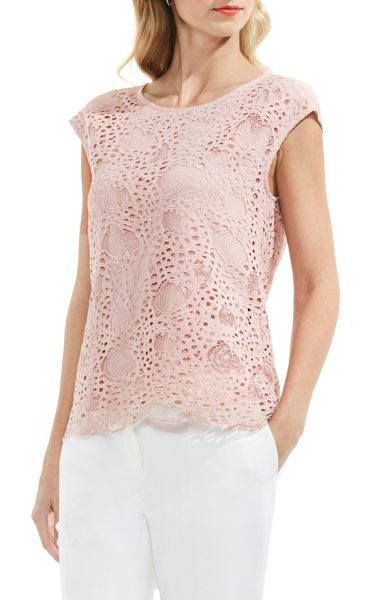 Vince Camuto lace top in coral sands - An understated beauty, this cotton-blend top balances...
