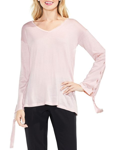 Vince Camuto lace-up bell sleeve sweater in hush pink - Slightly flared sleeves laced up with twisted ties bring...