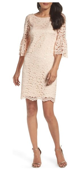 Vince Camuto laguna dress in blush - Soft, romantic lace gets architectural in the...