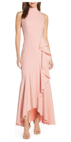 Vince Camuto laguna mock neck crepe gown in pink