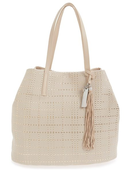 VINCE CAMUTO Leather tote - A woven metallic finish adds impeccable modern flair to...