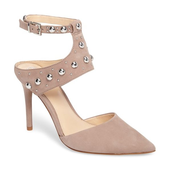 Vince Camuto ledana studded pump in mink nubuck leather - Polished dome studs punctuate the edgy, cutout straps of...
