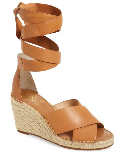 Vince Camuto leddy wedge sandal in tan leather - A braided, jute-wrapped wedge lifts a trendy lace-up...
