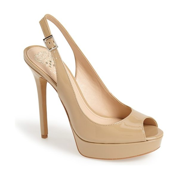 Vince Camuto levina platform pump in nude - An alluring platform pump is styled with a classic...
