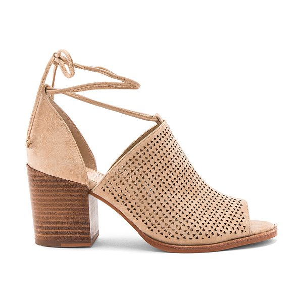 Vince Camuto Lindel Heel in beige - Suede upper with man made sole. Wrap ankle with tie...