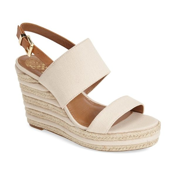 Vince Camuto loran wedge sandal in natural - A lofty jute-and-leather trimmed wedge balances an...