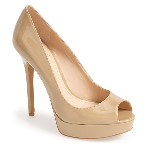 Vince Camuto lorim peep toe platform pump in nude - High-shine patent leather heightens the eye-catching...