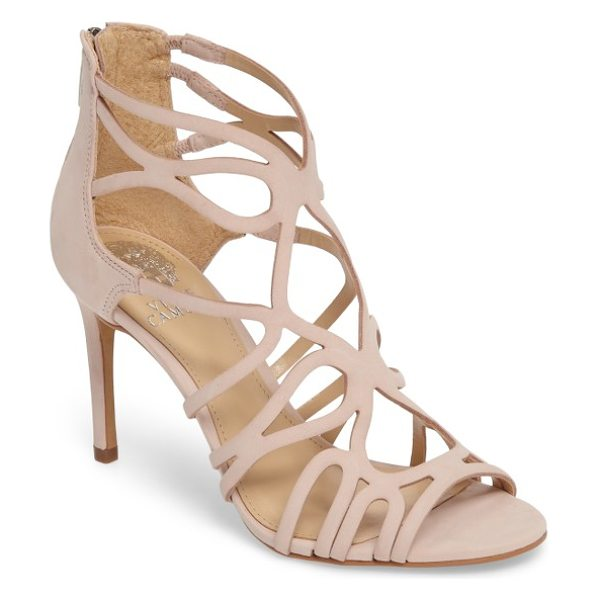 Vince Camuto lorrana cage sandal in blush nubuck leather - Curvy cutouts arc and contour into a gorgeously sinuous...