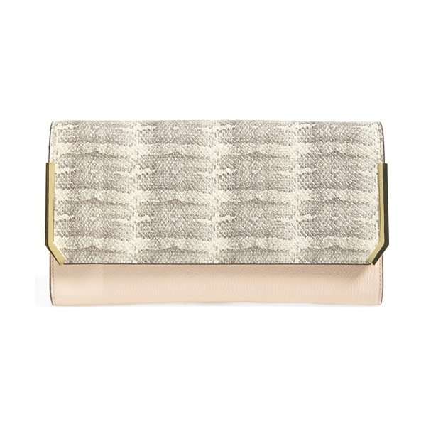 Vince Camuto Mae clutch in cameo rose - Contemporary, mixed-finish color blocking lends an...