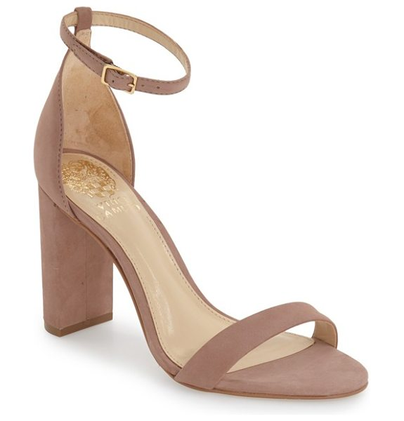 VINCE CAMUTO 'mairana' ankle strap sandal in dusty rose nubuck leather - Slender straps at the toe and ankle define the barely...