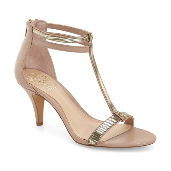 Vince Camuto 'makoto' t-strap sandal in sandbar/ gold leather - A sleek, minimalist design and a walkable heel make this...