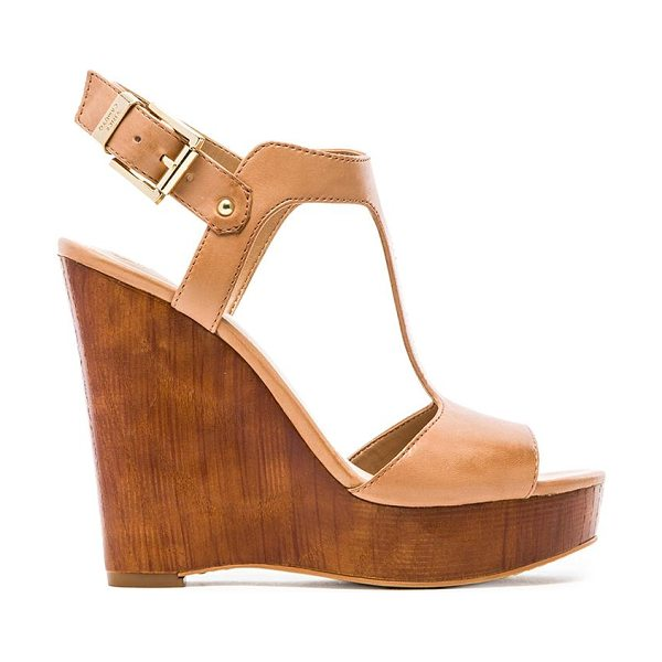 Vince Camuto Mathis wedge in tan - Leather upper with man made sole. Wedge measures approx...