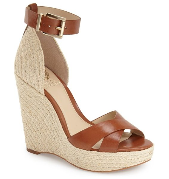 Vince Camuto maurita sandal in cognac leather - A woven espadrille wedge completes the beachy look of a...
