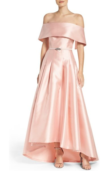 Vince Camuto mikado ballgown in blush - This silky, satiny gown gracefully flares away from the...