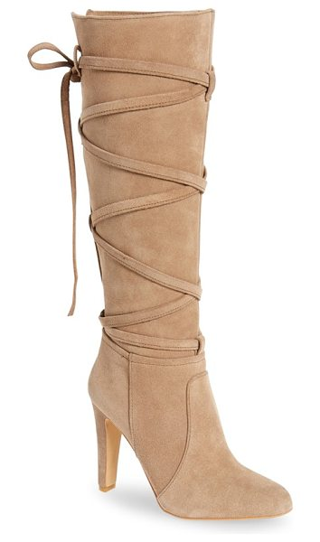 Vince Camuto millay knee high boot in khaki - Wraparound straps add stunning visual intrigue and...