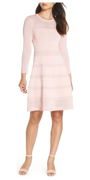Vince Camuto mix stitch pointelle fit & flare dress in pink