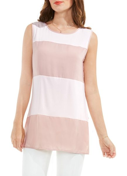 VINCE CAMUTO mixed media tank - A tonal mix of woven crepe and soft jersey converge in a...