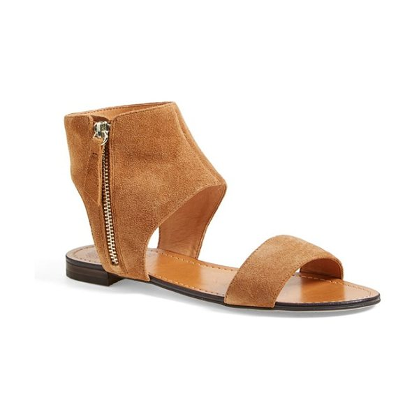 Vince Camuto myzer ankle cuff sandal in light brown - A modern suede sandal goes a little boho with an exposed...