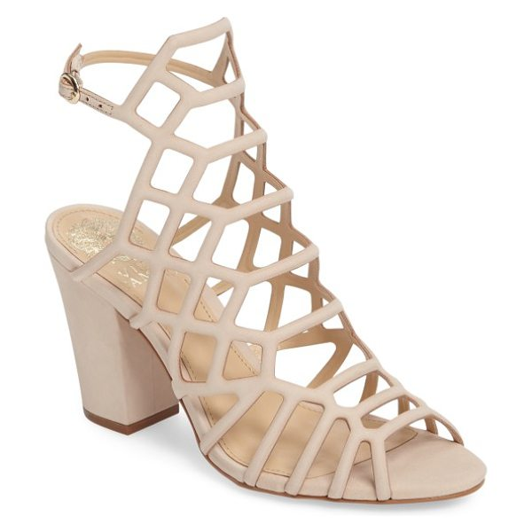 Vince Camuto naveen cage sandal in nude nubuck leather - Geometric strap placement and a high-set slingback strap...