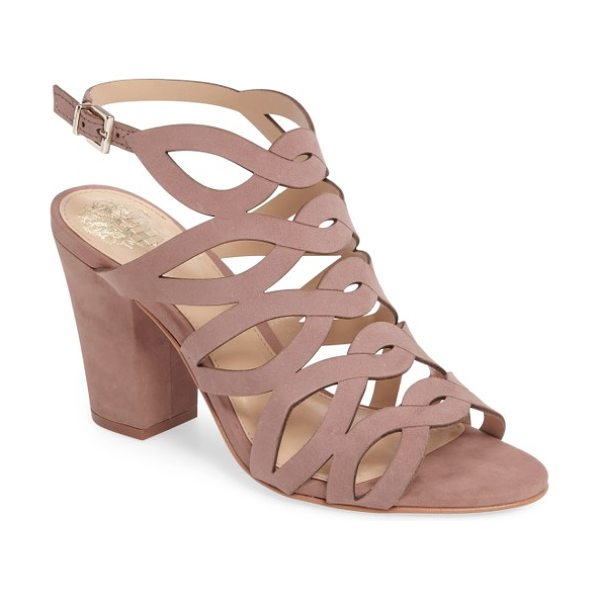 Vince Camuto norla block heel sandal in dusty rose nubuck leather - A tapered block heel provides right-on-trend lift to a...