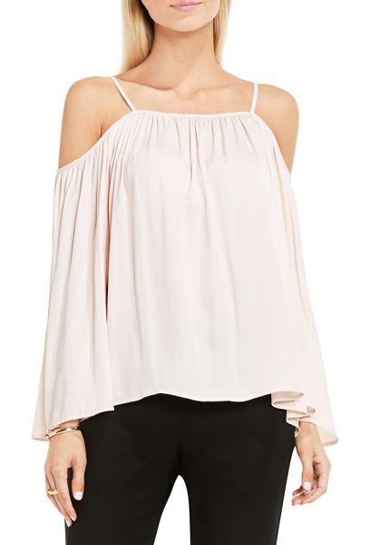Vince Camuto off the shoulder blouse in pink mimosa - Baring your shoulders in bombshell fashion, a billowy...