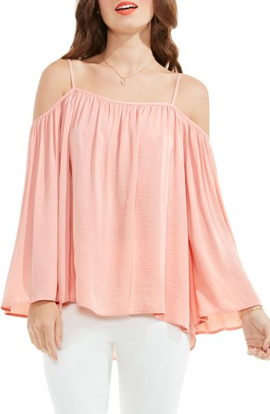Vince Camuto off the shoulder blouse in coral dusk - Baring your shoulders in bombshell fashion, a billowy...