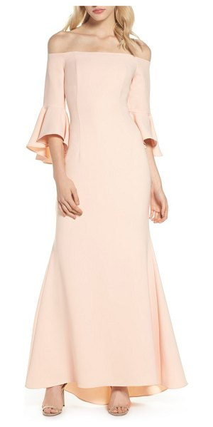 Vince Camuto off the shoulder gown in blush - A trendy off-the-shoulder neckline and voluminous bell...