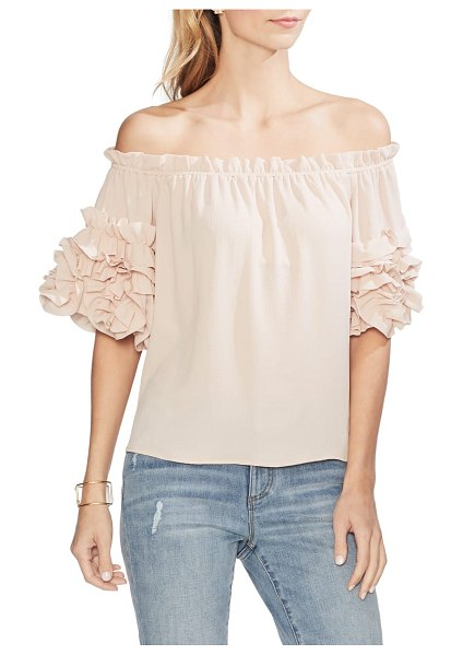 Vince Camuto off the shoulder ruffle sleeve blouse in pink - A shoulder-baring top adds a jumble of joy with rows and...