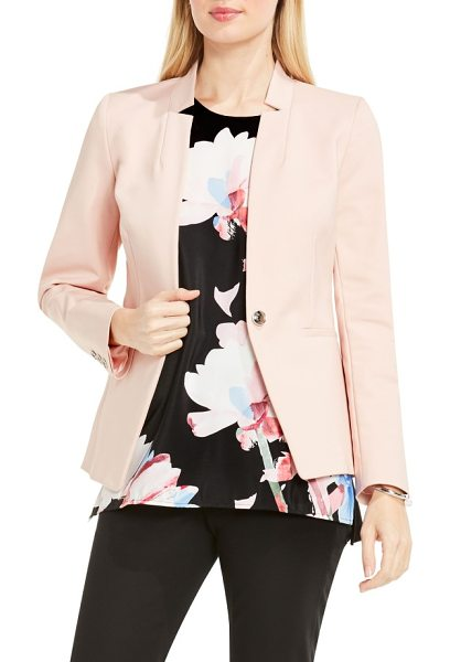 Vince Camuto one-button notch collar blazer in coral sands - Airy, flower-inspired color and a notched V-neckline...