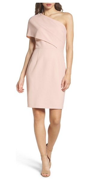 Vince Camuto one-shoulder body-con dress in blush - Artfully draped with a dramatic one-shoulder neckline,...