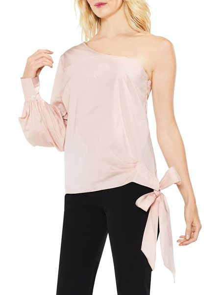 Vince Camuto one-shoulder side-tie poplin top in rose buff - A crisp, stretch-woven blouse dips off the shoulder and...