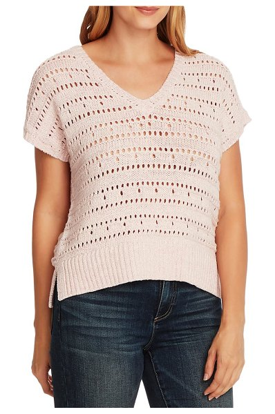 Vince Camuto open stitch cotton blend short sleeve sweater in pink