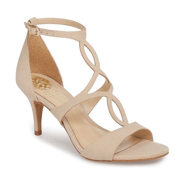 Vince Camuto payto sandal in beige - A gently tapered heel grounds an elegant evening sandal...