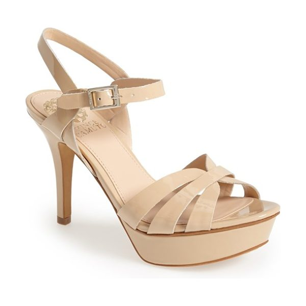Vince Camuto peppa ankle strap leather platform sandal in petal - Glossy leather straps cross and intertwine on this...