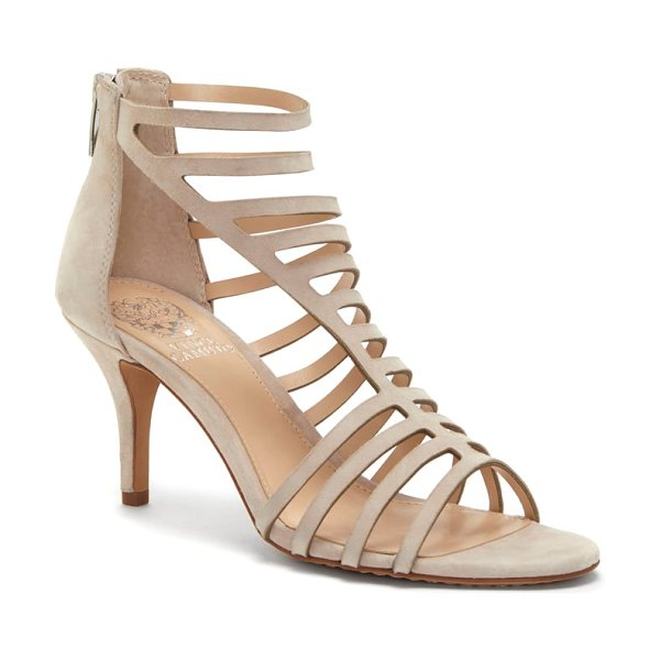 Vince Camuto petronia asymmetrical cage sandal in beige