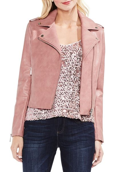 Vince Camuto pink faux leather moto jacket in coral cloud - A little bit charming, a little bit edgy-this moto is...