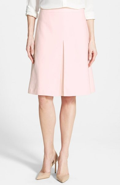 Vince Camuto pleat front a-line skirt in taffy pink - A stretch-cotton skirt in a classic A-line silhouette...