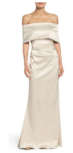 Vince Camuto off the shoulder gown in champagne - Lustrous satin multiplies the glamour of this ruched,...