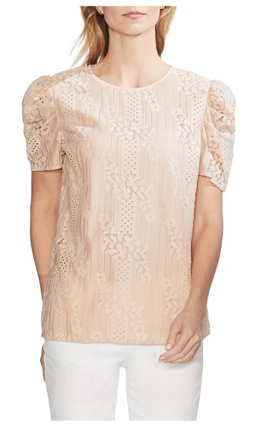 Vince Camuto puff sleeve lace blouse in pink