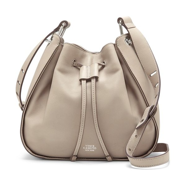 VINCE CAMUTO Rayli bucket bag in parchment - Complete your around-town look with the casual...