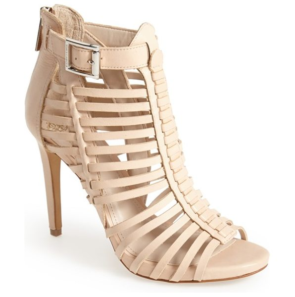 Vince Camuto remmie leather cage sandal in beige - Slim cage straps lend fierce modern edge to a lithe...