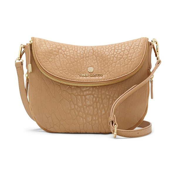 Vince Camuto Rizo leather crossbody bag in nude - A slightly slouched profile and richly textured leather...