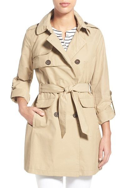 Vince Camuto roll sleeve double breasted trench coat in khaki - Button tab-rolled sleeves relax the polished look of a...