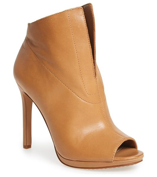 Vince Camuto rora peep bootie in camelback burinished leather - A deep-V topline underscores the modern refinement of a...
