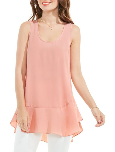 Vince Camuto ruffle hem blouse in coral dusk - A ruffed hem panel brings an elegant flutter to an...