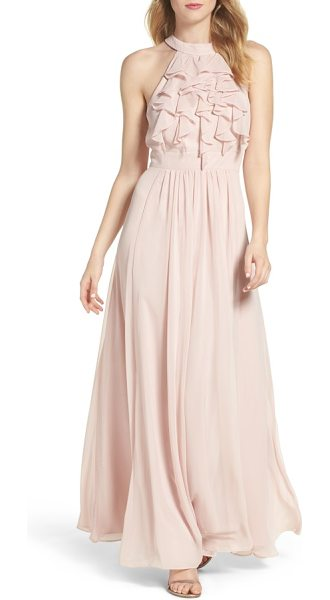 Vince Camuto ruffle high neck gown in blush - This high-neck gown, ruffled to perfection, will float...