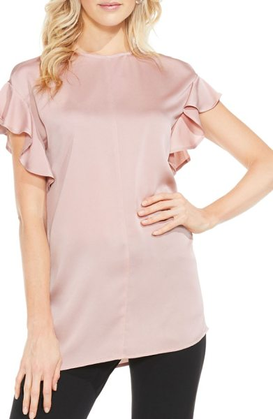 Vince Camuto ruffle sleeve blouse in iced rose - Ruffled sleeves add the perfect dash of feminine frill...