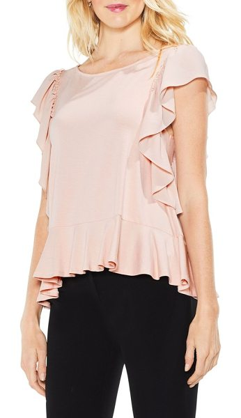 Vince Camuto ruffle sleeve mix media top in rose buff - Ruffled sleeves and mixed textures add romantic allure...