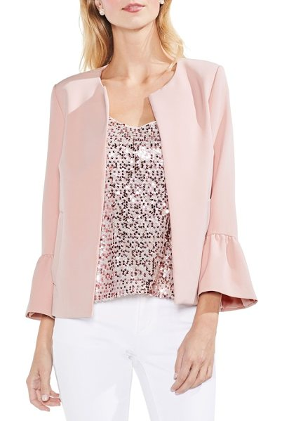 VINCE CAMUTO ruffle sleeve open front jacket - Chic up your boardroom vibe in this open-front jacket...